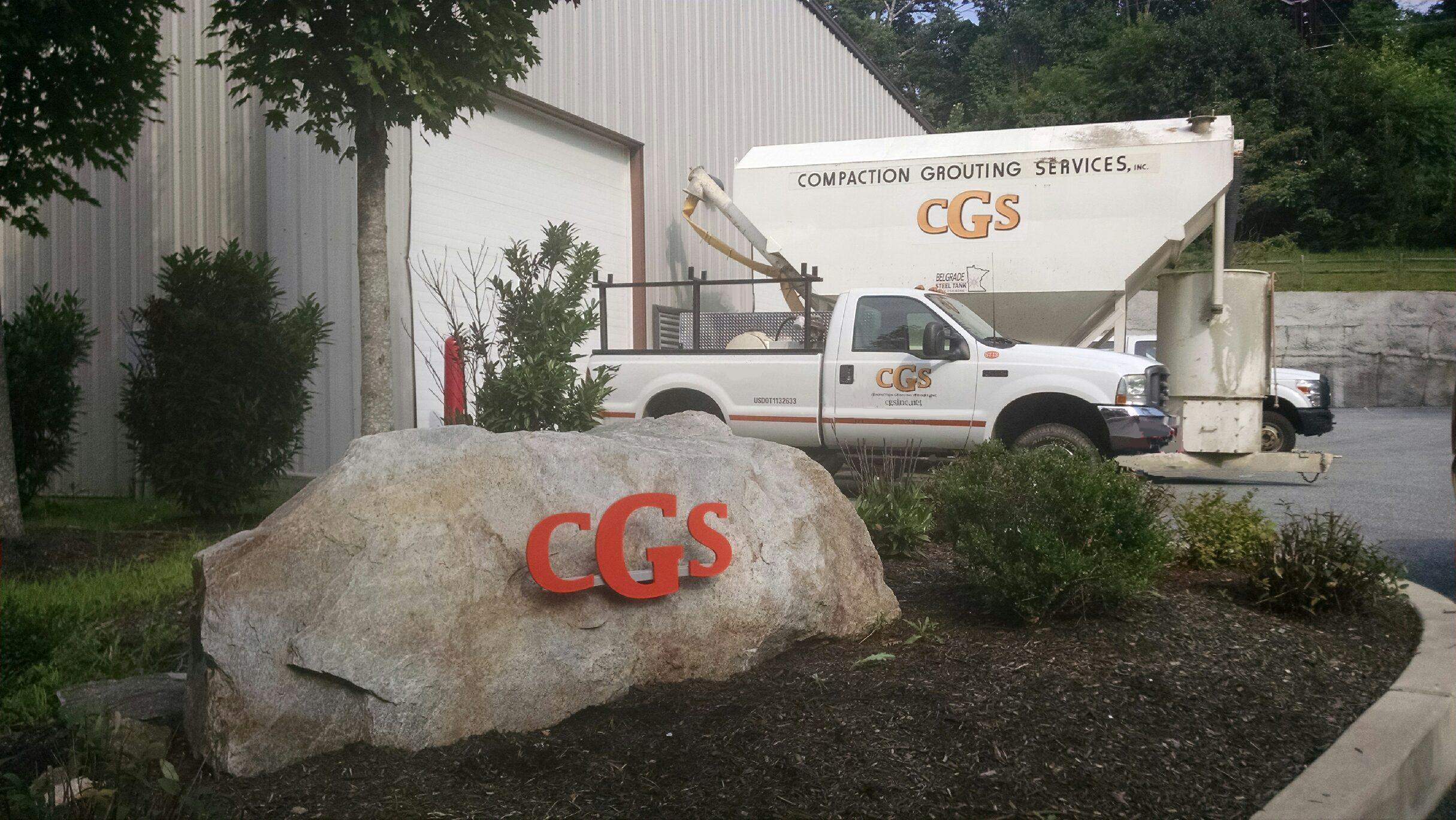 CGS Lettered Rock and 2 Vehicles
